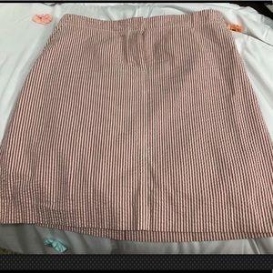 J Crew red/white seersucker skirt